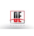 oe o e logo letters with red and black colors and vector image vector image