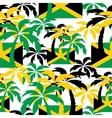 Palm trees in Jamaica colors Seamless background vector image vector image