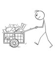 person pushing full handcart with boxes vector image