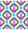 pineapples and leaves in rhombuses geometric tile vector image vector image