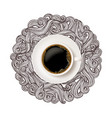 realistic white cup coffee top view with doodle vector image