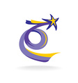 Rising star with spiral colorful tail vector image vector image