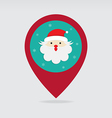 Santa christmas flat pin map icon vector image
