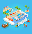 sea cruise isometric composition vector image vector image