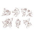 set different vintage cupid various flying vector image