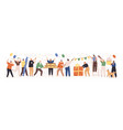 set happy cartoon people having fun at birthday vector image vector image