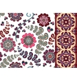 Set of Floral seamless background and border vector image vector image