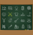 sewing chalk draw line icons set vector image