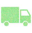 shipment van mosaic of small circles vector image vector image