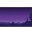Silhouette of Christmas deer vector image