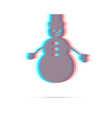 Snowman flat anagliph icon vector image vector image