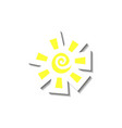 sun in yellow with swirl and square rays vector image