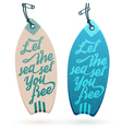 Surfboard Shaped Hang Tags vector image