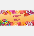 sweet candy shop concept banner realistic style vector image