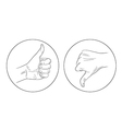 thumb up thumb down contour icon vector image vector image