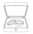 wedding rings in a jewelry box flat outline vector image