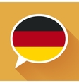 White speech bubble with Germany flag on orange vector image vector image