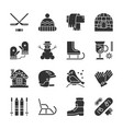 winter activity outdoor black silhouette icon set vector image