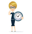 woman with a clock against white background vector image vector image