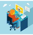 Workplace Working at computer Flat 3d isometric vector image vector image