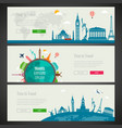 three travel and tourism headers banners with vector image