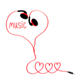 Earphones and red cord in shape of three hearts vector image