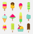 set of colorful ice cream on stick with different vector image