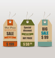 Old retro vintage tag cards for sale vector image