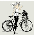 Retro fashion girl with dog in a bicycle basket vector image