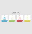 4 beacon icons vector image vector image