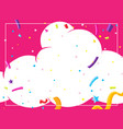 a pink cloud party card template vector image