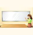 A teacher inside the room with an empty bulletin vector image vector image