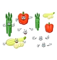 Bell pepper asparagus and zucchini vegetables vector image vector image
