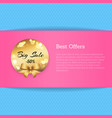 best offers banner with golden label big sale -50 vector image vector image