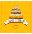 Birhday cake Card yellow vector image