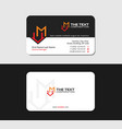 black business card with letter m and market icon vector image vector image