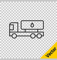 black line tanker truck icon isolated on vector image vector image