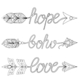Bohemian Arrows Signs Boho Love Hope with vector image vector image