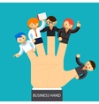 Business hand Open hand with employee on fingers vector image vector image
