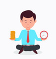 business man sitting in lotus position vector image vector image