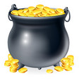 cauldron full of gold coins vector image