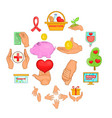 charity organization icons set cartoon style vector image vector image