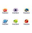 collection brain logo designs template planet vector image vector image
