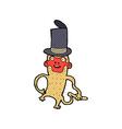 comic cartoon monkey wearing top hat vector image vector image