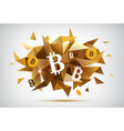 crypto currency bitcoin faceted banner vector image