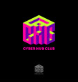 cyber hub club logo volume 3d imitation cube vector image vector image