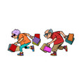 elderly couple grandparents with shopping vector image vector image