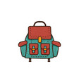 flat backpack icon unique retro camping design vector image