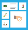 flat icon seed set of seed man glove and other vector image vector image