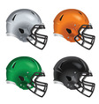 Football helmets with black facemasks vector image vector image